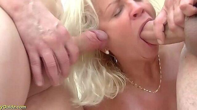 Mature double penetration facial