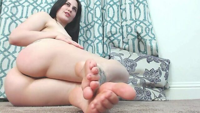 Trying on tan pantyhose and foot tease and anal