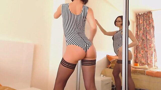 Tan stocking tease and anal