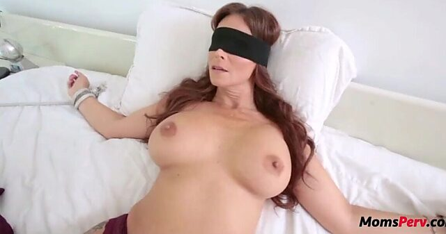 Blindfolded mom